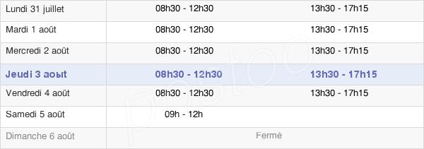 horaires d'ouverture de la Mairie Du Crès