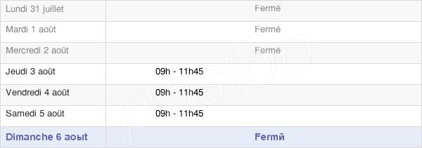 horaires d'ouverture de la Mairie De Brissac