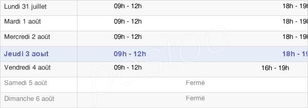 horaires d'ouverture de la Mairie D'Olonzac