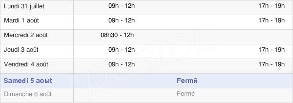 horaires d'ouverture de la Mairie De Sussargues