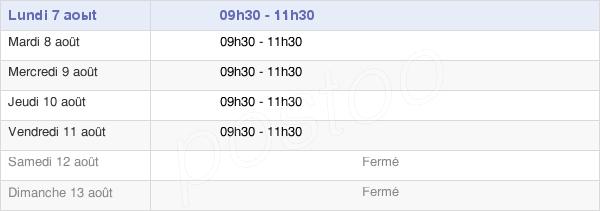 horaires d'ouverture de la Mairie De Saint-Etienne-D'Estréchoux