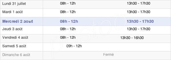 horaires d'ouverture de la Mairie De Dinan