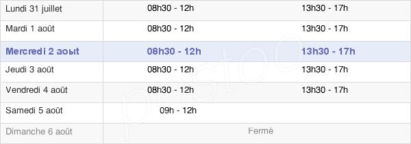 horaires d'ouverture de la Mairie D'Épieds-En-Beauce