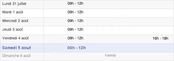 horaires d'ouverture de la Mairie De Chilleurs-Aux-Bois