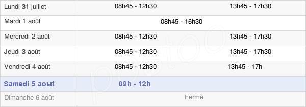 horaires d'ouverture de la Mairie De Fleury-Les-Aubrais