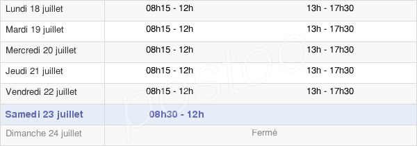 horaires d'ouverture de la Mairie D'Amilly
