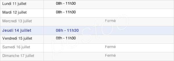 horaires d'ouverture de la Mairie Des Bouchoux