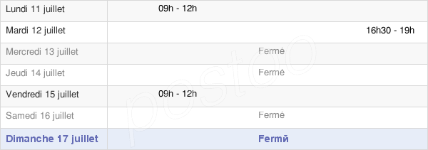 horaires d'ouverture de la Mairie D'Asnans-Beauvoisin