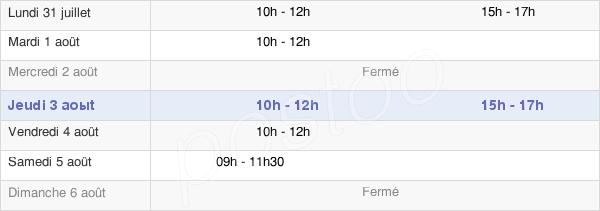 horaires d'ouverture de la Mairie De La Chaux-Du-Dombief