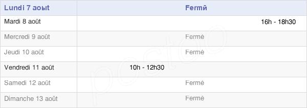 horaires d'ouverture de la Mairie De Mantry
