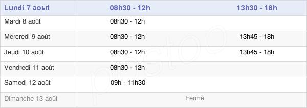 horaires d'ouverture de la Mairie De Corbeilles