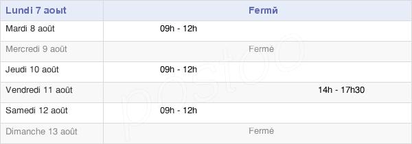 horaires d'ouverture de la Mairie De Nozeroy