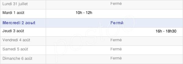 horaires d'ouverture de la Mairie De Chatelay