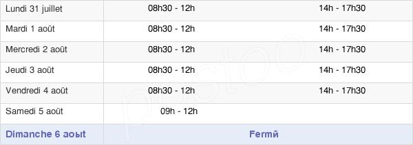 horaires d'ouverture de la Mairie De Poligny