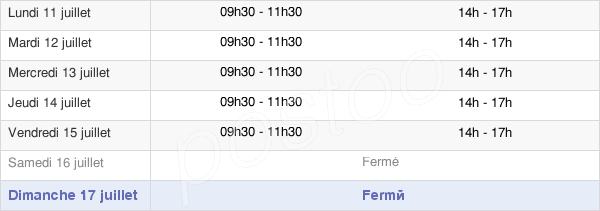horaires d'ouverture de la Mairie De Fetigny