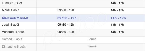 horaires d'ouverture de la Mairie D'Orgelet