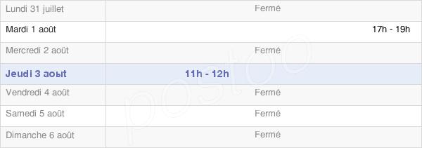 horaires d'ouverture de la Mairie De Chaînée-Des-Coupis