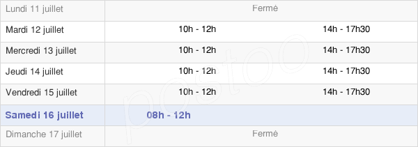 horaires d'ouverture de la Mairie De Châtillon-Coligny
