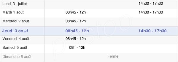 horaires d'ouverture de la Mairie De Saint-Benoit-Sur-Loire
