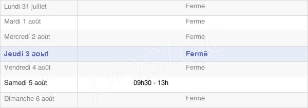 horaires d'ouverture de la Mairie De Charnod