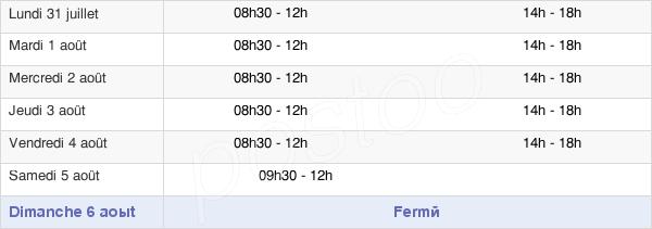horaires d'ouverture de la Mairie De Boigny-Sur-Bionne