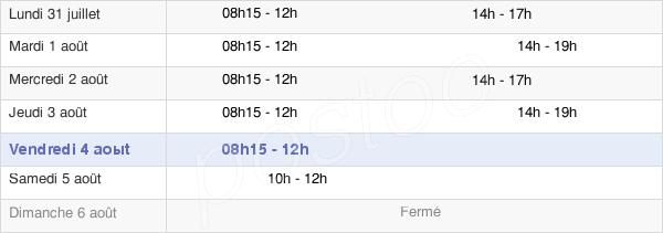 horaires d'ouverture de la Mairie De Fegersheim