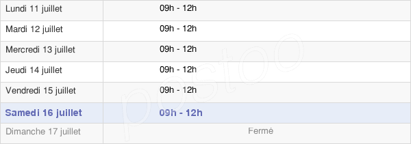 horaires d'ouverture de la Mairie De Sennely