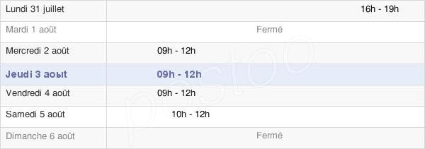 horaires d'ouverture de la Mairie De Chevillon-Sur-Huillard