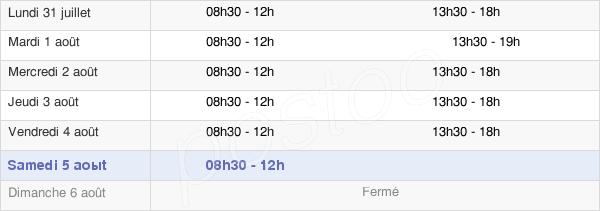 horaires d'ouverture de la Mairie De Sannois