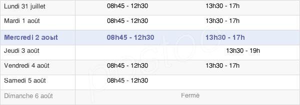 horaires d'ouverture de la Mairie D'Eaubonne
