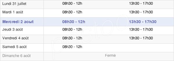horaires d'ouverture de la Mairie De Argenteuil