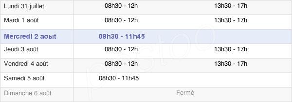 horaires d'ouverture de la Mairie De Margency