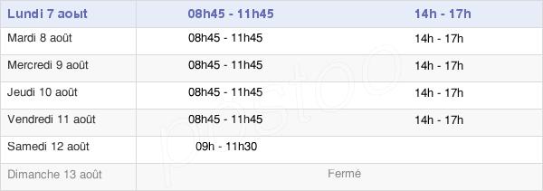 horaires d'ouverture de la Mairie de Attainville