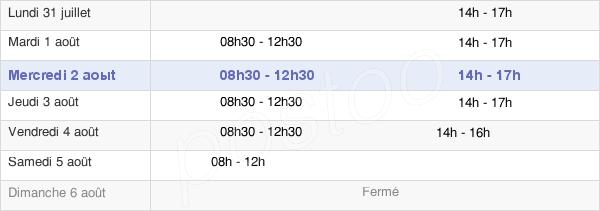 horaires d'ouverture de la Mairie De Montmorency