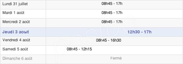 horaires d'ouverture de la Mairie De Pontoise