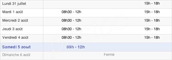 horaires d'ouverture de la Mairie De Nogent-Sur-Vernisson