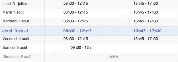 horaires d'ouverture de la Mairie De Provins