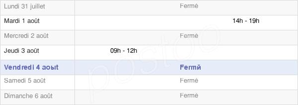 horaires d'ouverture de la Mairie De Santeau