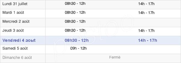 horaires d'ouverture de la Mairie De Pomponne