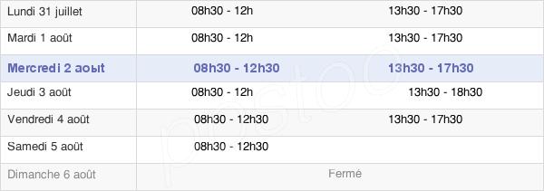 horaires d'ouverture de la Mairie De Compans