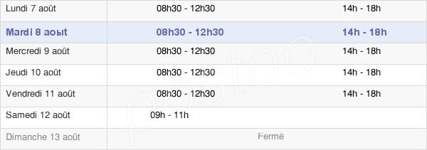 horaires d'ouverture de la Mairie De Cannes-Ecluse
