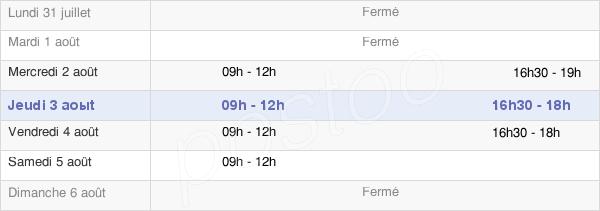 horaires d'ouverture de la Mairie De La Grande-Paroisse