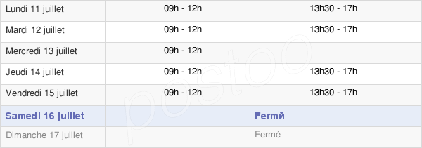 horaires d'ouverture de la Mairie Du Massegros