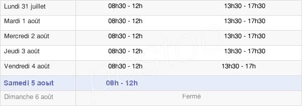 horaires d'ouverture de la Mairie De Saint-Chély-D'Apcher