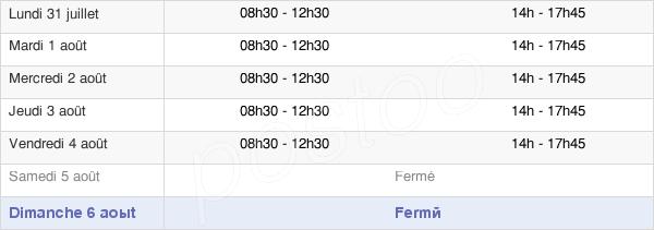 horaires d'ouverture de la Mairie De Boué