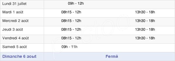 horaires d'ouverture de la Mairie D'Étampes-Sur-Marne
