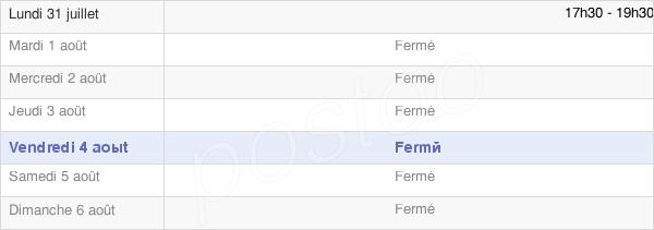 horaires d'ouverture de la Mairie De Colligis-Crandelain