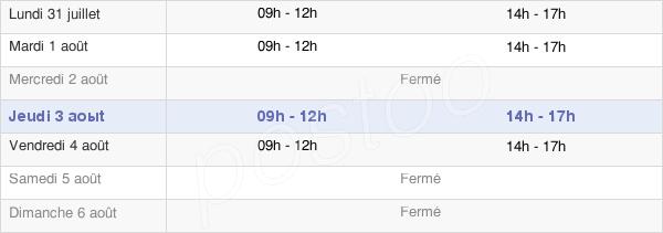 horaires d'ouverture de la Mairie De Condren