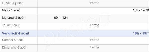 horaires d'ouverture de la Mairie De Pommiers