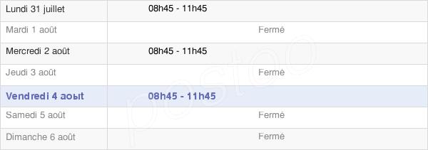 horaires d'ouverture de la Mairie De Chaourse